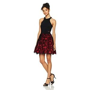 Blondie Nights Party Dress Flock Cutout Sides